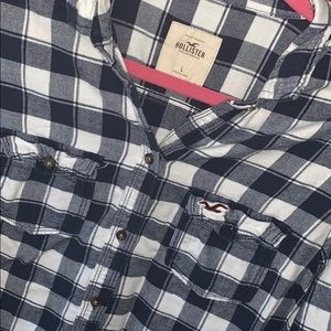 Hollister Checkered Navy Flannel Longsleeve L